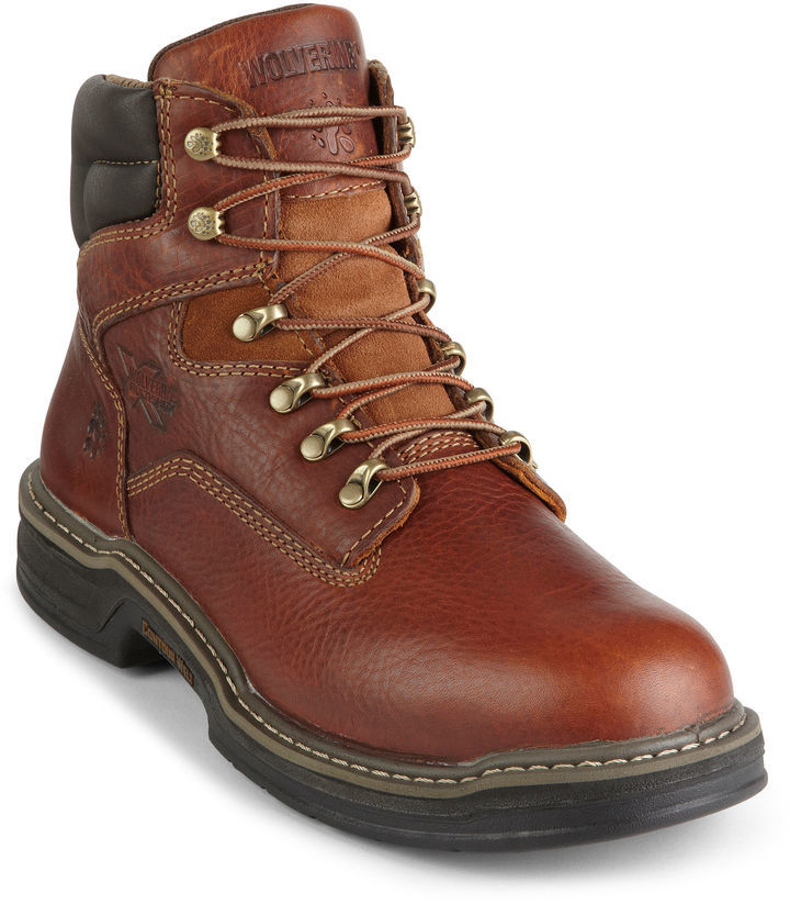 577911a24a637 Men s Fashion › Footwear › Boots › Work Boots › jcpenney › Wolverine ›  Brown Leather Work Boots Wolverine Raider Multishox Contour Welt Work Boots