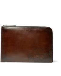 Berluti Nino Scritto Zip Around Leather Pouch