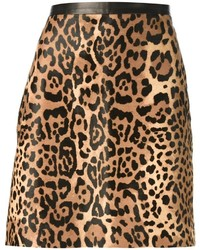 Brown Leopard A-Line Skirt