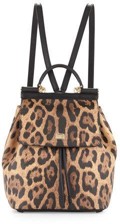 137f709562 ... Dolce   Gabbana Miss Sicily Leopard Print Backpack ...