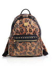 MCM Stark Balam Visetos Small Leopard Print Coated Canvas Backpack