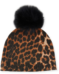 Neiman Marcus Cashmere Animal Print Beanie With Fox Fur Pompom