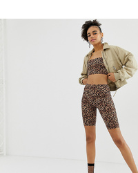 Monki Co Ord Legging Shorts In Brown Leopard