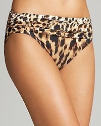 Carmen Marc Valvo Zanzibar Leopard Print Shirred Bikini Bottom