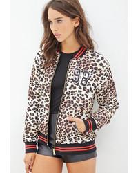 Brown Leopard Bomber Jacket