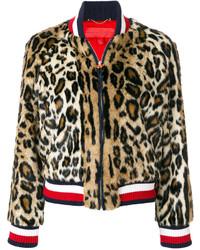 Hilfiger Collection Leopard Print Striped Bomber Jacket