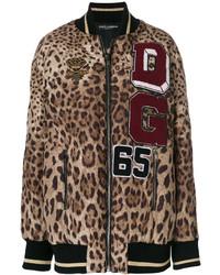 Leopard print bomber jacket medium 5375641