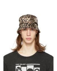 R13 Black And Khaki Silk Leopard Bucket Hat