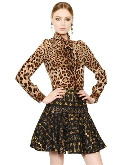 5afd55f057c5 ... Brown Leopard Button Down Blouses Dolce & Gabbana Leopard Print Silk  Crepe De Chine Shirt ...