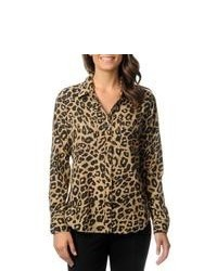 Isaac Mizrahi Leopard Print Button Down Woven Top