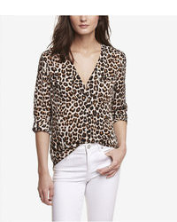 Leopard v neck convertible sleeve shirt medium 47890