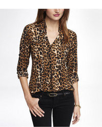 Original fit leopard print portofino shirt medium 47889