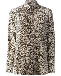 Saint laurent leopard print shirt medium 47896