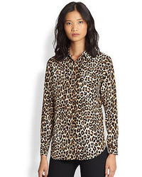 7792aef50 Brown Leopard Button Down Blouses for Women | Women's Fashion ...