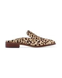 Sam Edelman Crystal Embellished Leopard Print Calf Hair Slippers