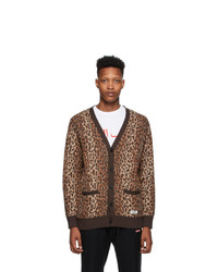 Wacko Maria Brown And Beige Leopard Jacquard Cardigan