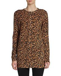 Cashmere leopard print cardigan medium 85098
