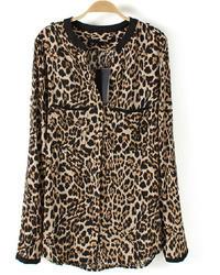 Leopard v neck chiffon blouse medium 32956