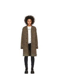 R13 Brown Leopard Shredded Coat
