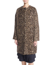 Cynthia brushed leopard print caban coat medium 5207606