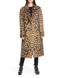 R13 Leopard Print Wool Alpaca Double Breasted Coat