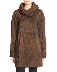 Mini donatella leopard reversible pleat hood packable travel coat medium 517070