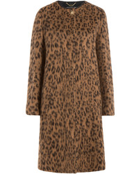Wool alpaca leopard print coat medium 528259