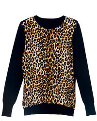 Choies Black Knit Sweater With Leopard Pattern