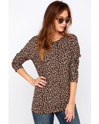 Obey Echo Mountain Brown Leopard Print Sweater Top