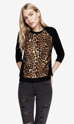 5ec4f807ceba Express Leopard Print Mixed Fabric Sweater, $59   Express ...