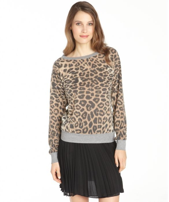 ... RD Style Khaki Leopard Print Crewneck Sweatshirt 9b20058bd0