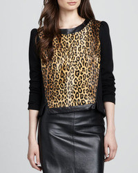 Milly Leather Trim Leopard Print Sweatshirt