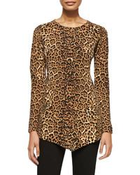 Sofia Cashmere Leopard Print Triangle Cashmere Top