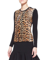 Ralph Lauren Black Label Long Sleeve Leopard Print Top