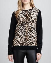 Equipment Roland Leopard Front Sweater