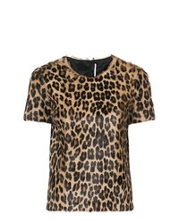 Brown Leopard Crew-neck T-shirt
