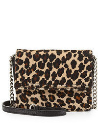 Alice + Olivia Mini Clee Leopard Dyed Calf Hair Crossbody Bag Natural Brown