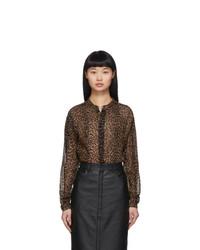 Saint Laurent Brown Leopard Sheer Oversized Shirt
