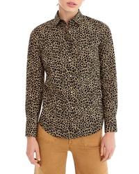 J.Crew Leopard Print Slim Stretch Perfect Shirt