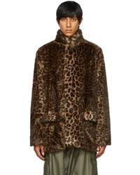 Needles Brown Faux Fur Leopard Car Coat