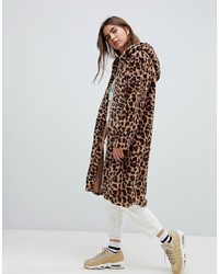 Daisy Street Coat In Leopard Faux Fur