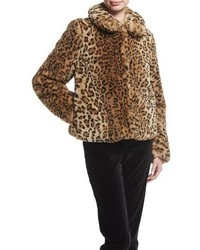 Jerrie leopard print faux fur coat medium 5277289