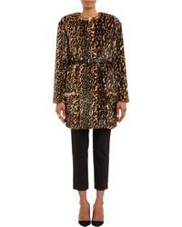 Nina Ricci Leopard Print Faux Fur Belted Coat