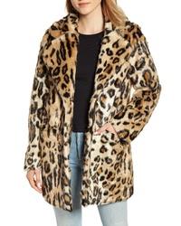 APPARIS Margot Leopard Print Faux Fur Coat