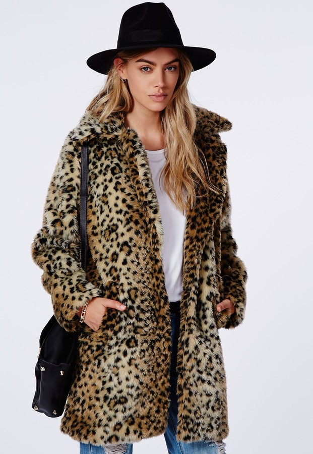 Missguided Kylie Faux Fur Leopard Coat Brown | Where to buy & how ...