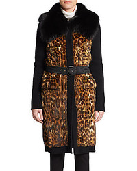Printed fur knit wool coat medium 174497