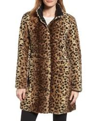 Via Spiga Reversible Faux Leopard Fur Coat