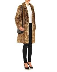 27a9d3944c18 ... Saint Laurent Single Breasted Animal Print Fur Coat ...