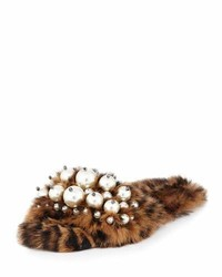 Miu Miu Pearly Fur Slide Sandal Leopard