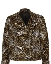 River Island Brown Leopard Print Soft Biker Jacket